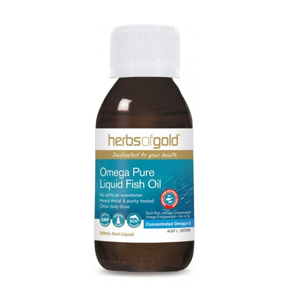 Omega pure liquid fish oil 200ml herbs of gold for Where does fish oil come from